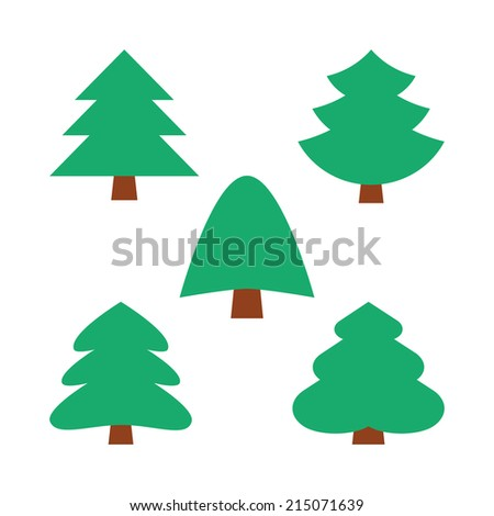 set of five christmas simple trees in natural green color without decoration - stock vector