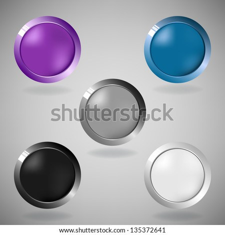 Set of five colorful buttons on grey background. Vector version. - stock vector