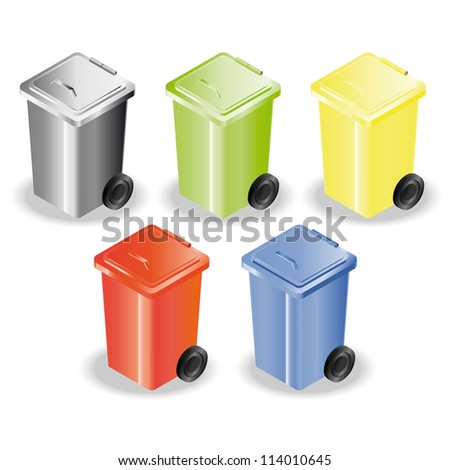 Set of five containers for rubbish sorting - stock vector