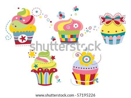 Set of five cute cupcakes in contemporary style with happy colors. - stock vector