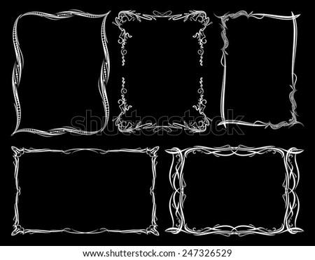 Set of five decorative frames on a black background - stock vector