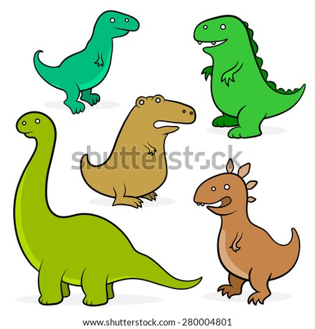 Set of five different cute prehistoric colored cartoon dinosaurs suitable for teaching kids about palaeontology and the extinction of species isolated on white, vector illustration - stock vector