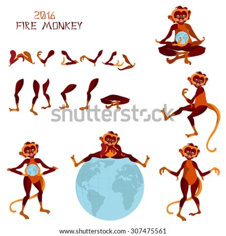 Set Five Different Poses Monkey Symbol Stock Vector 307475561 ...