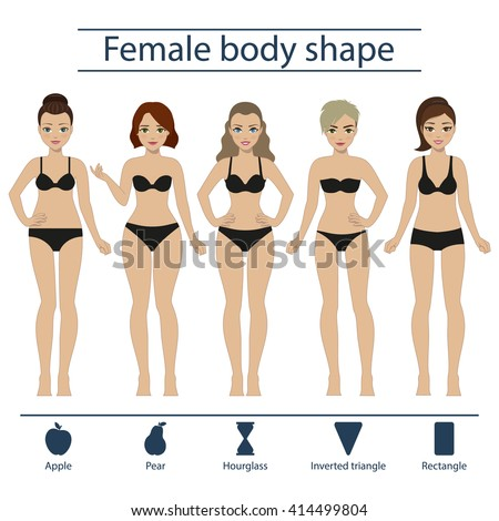 Set Five Different Types Female Figures Stock Vector ...