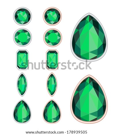 set of five forms of emerald cut and two kinds of frames (silver and gold). EPS 10. No transparency. No gradients. - stock vector