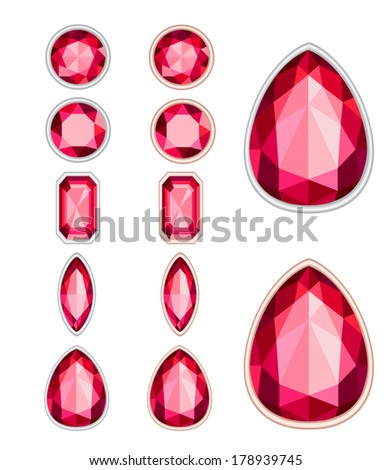 set of five forms of ruby cut and two kinds of frames (silver and gold). EPS 10. No transparency. No gradients. - stock vector