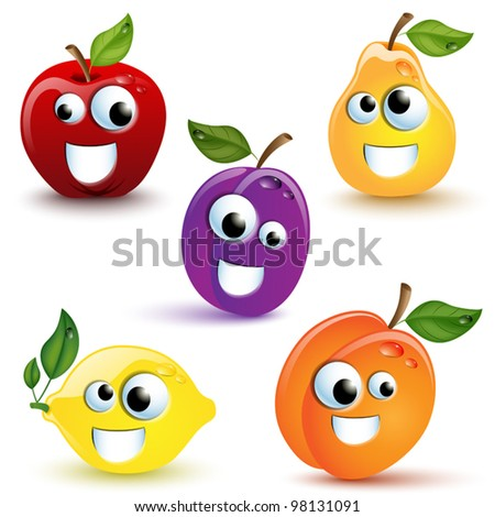 Set of five funny fruits with mouth and eyes