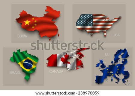 Set of five great states, vector superpowers - stock vector