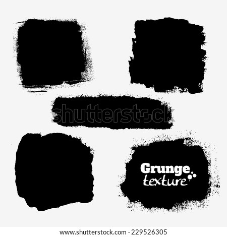 Set of five grungy paint stains, background textures for your designs - stock vector