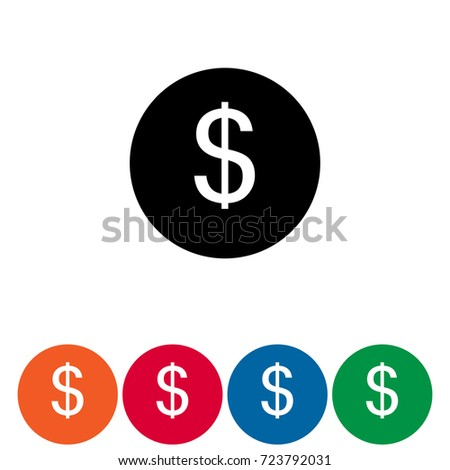 Set Five Icons Different Colors Symbol Stock Vector 723792031