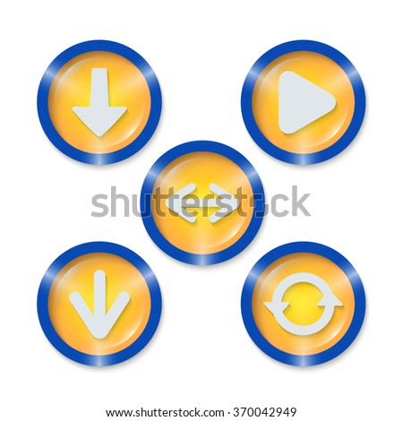 Set of five icons with different arrows