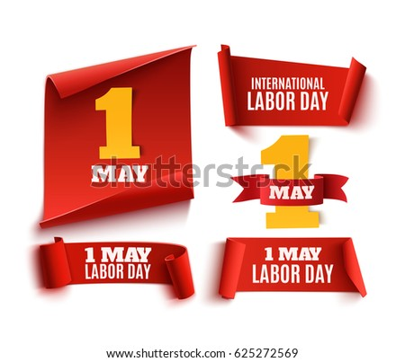 Set of five red, realistic,1 may labor day paper banners. Vector illustration.