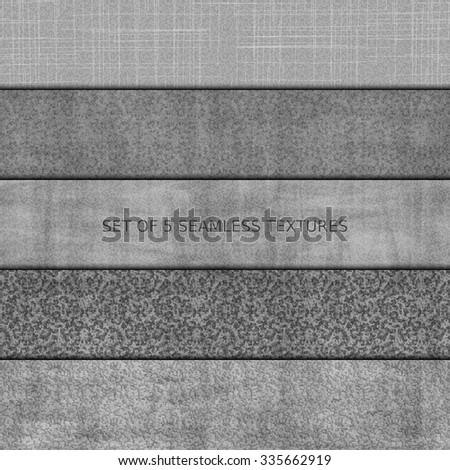 Set of five seamless relief texture of stone, asphalt, concrete and marble. Vector, EPS 10 - stock vector