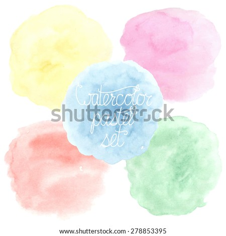 Set of five subtle pastel colorful hand drawn watercolor circle backgrounds, isolated on white. Vector illustration. - stock vector