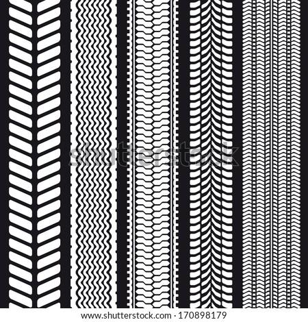 Set of five tire treads. Seamless texture. Vector illustration. - stock vector