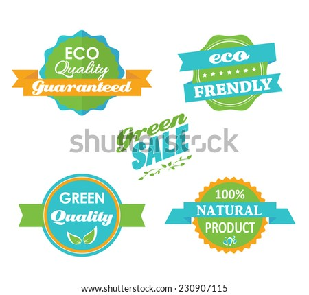 Set of five vector eco stamps isolated. Organic logo illustration. Ecology sticker. Nature labels. Environment friendly sign. Green sale. Eco quality guaranteed. 100% natural product. Business tag. - stock vector