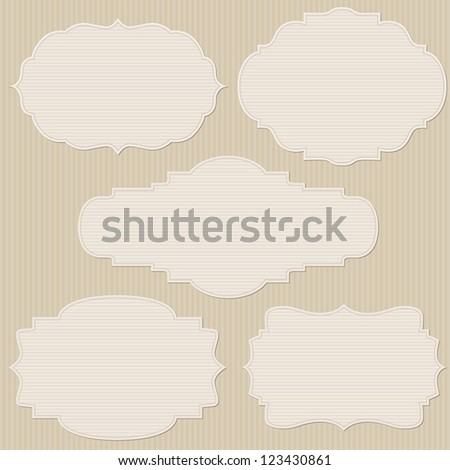Set of five vintage striped frames - stock vector