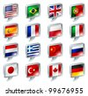 Set of flag speech bubble icons buttons; great for anything related to languages; regions or translation; or country specific web forum sections. - stock vector