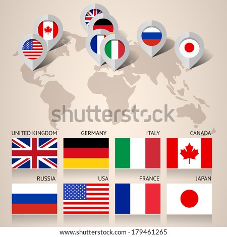 Set of Flags Countries Members of the G8 group, flat vector illustration - stock vector