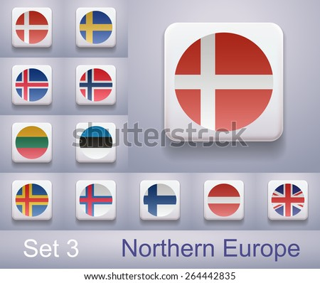 Set of flags in Northern Europe. Flags in the form of computer-button. Illustration. Image. Vector. Icon. - stock vector