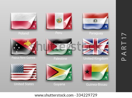 set of flags of all the countries tattered masking tape