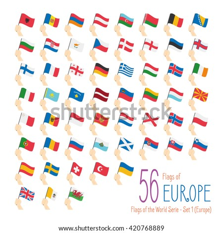 Set of 56 flags of Europe. Hand raising the national flags of 56 countries of Europe. Icon set Vector Illustration. - stock vector