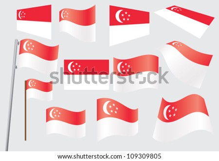 set of flags of Singapore vector illustration - stock vector