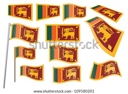 set of flags of Sri Lanka vector illustration - stock vector