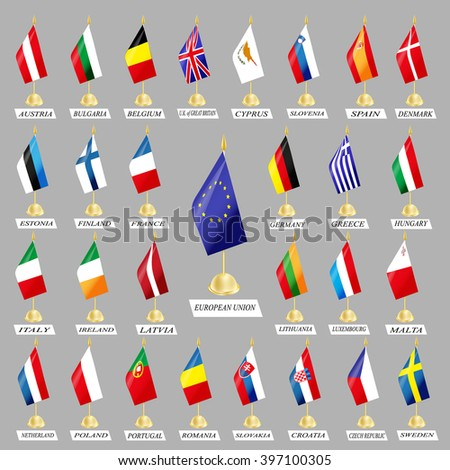 set of flags of the participating countries of the European Union - stock vector