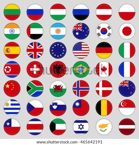 Set of flags. Top, famous country. Flags in the form of a circle . On a grey background