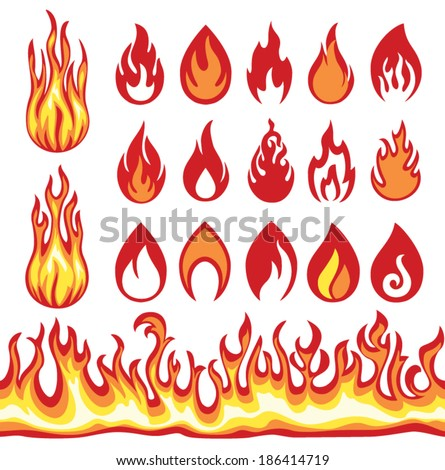 Set of Flame icons. Fire symbols. Vector illustration. - stock vector