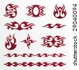 Set of flames tribal / tattoo - stock vector