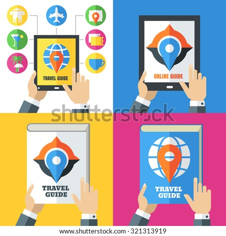 Set of flat abstract travel icons and backgrounds. Design concept for travel guide, mobile apps, planning vacation, tourism, online booking tickets, hotels. Vector colorful illustration.   - stock vector