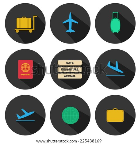Set of flat airport icons for your design - stock vector
