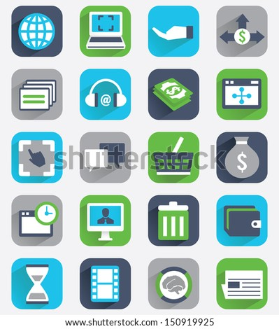 Set of flat analytics and statistics icons - part 2 - vector icons - stock vector