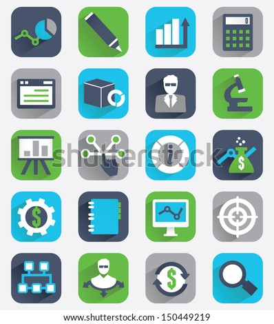 Set of flat analytics and statistics icons - vector icons - stock vector