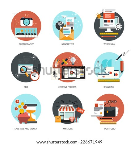 Set of flat and colorful concepts icons of  photography, newsletter,webdesign, marketing, branding, online shoping ,SEO theme and time is money . Design elements for web and mobile applications - stock vector