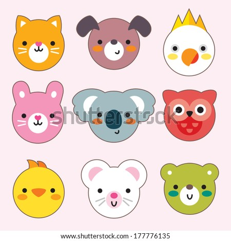 Set of flat animal and bird face icons. Minimal design for stickers, labels, tags, cards, gift wrapping paper, textiles. - stock vector