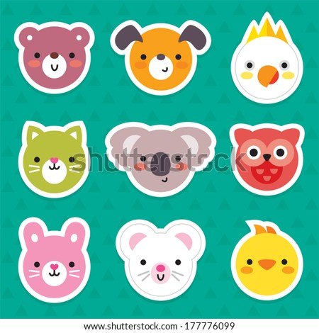 Set of flat animal and bird face stickers in bright retro colors. Minimal design for stickers, labels, tags. - stock vector