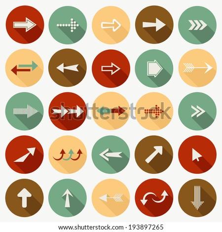 Set of flat arrows.  - stock vector