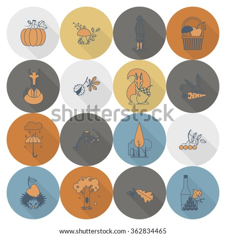 Set of Flat Autumn Icons - stock vector