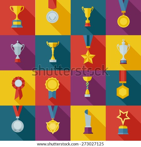 Set of flat awards icons. Vector illustration. - stock vector