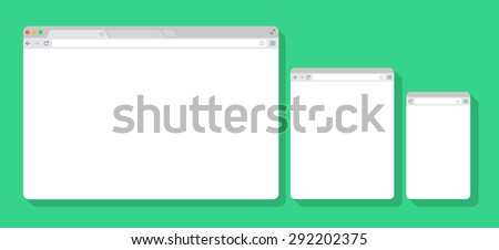 Set of Flat blank browser windows for different devices. Vector. Computer, tablet, phone sizes. - stock vector