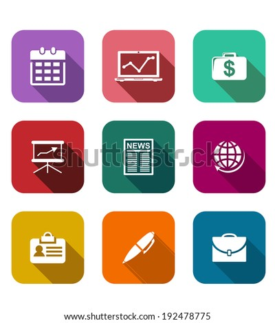 Set of flat business icons on colorful web buttons depicting, a calendar, graph, dollars, briefcase, presentation, laptop, financial newspaper, globe, name tag and pen - stock vector