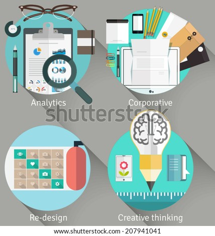 Set of flat business illustration concept design including analytic, corporate design, redesigning and creative thinking. Combined icons into concept illustrations. - stock vector