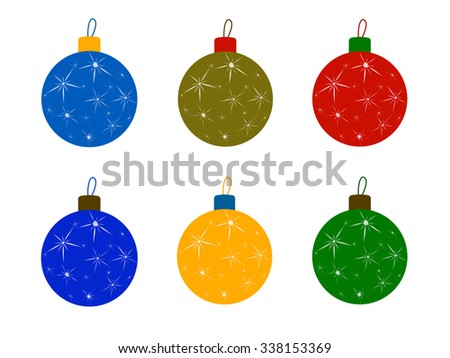 Set of flat Christmas tree colored balls. Christmas decoration, New Year toys balls, christmas ornaments, celebration and holiday, ornament xmas, sphere bauble, decor bright - stock vector