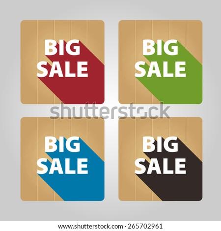 Set of 4 flat circle icons. Big sale. - stock vector