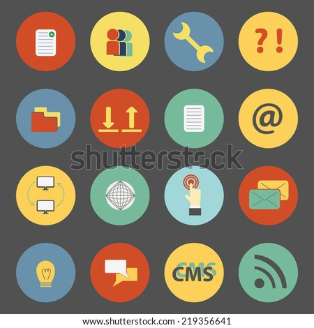 Set of flat CMS icons - stock vector