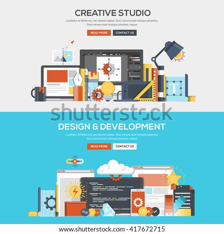 Set of Flat Color Banners Design Concepts for Creative Studio, Design and Development.Vector