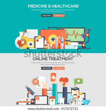 Set of Flat Color Banners Design Concepts for Medicine and Healthcare and Online Treatment.Vector - stock vector